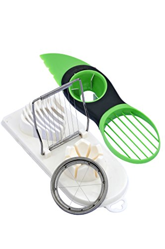 EZ Supply Kitchen Slicing Bundle 3 in 1 Plastic Egg Slicer/Chopper/Wedger with Stainless Steel Cutting Wires, White and 3 in 1 Heavy Duty Avocado Splitter/Pitter/Slicer, Green (Commercial Egg Slicer compare prices)