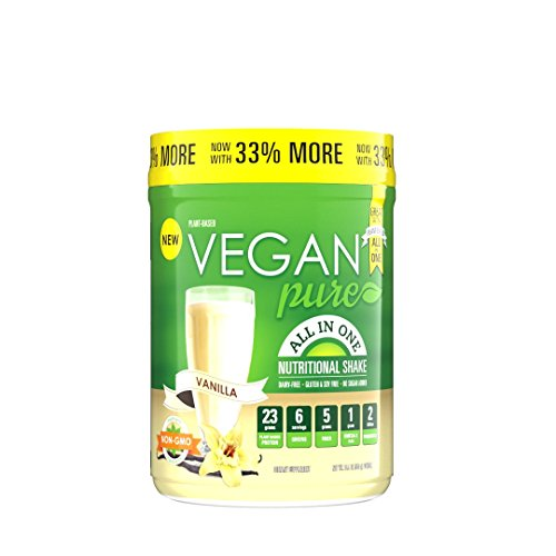 Vegan Pure All In One Nutritional Shake, Vegan Vanilla Flavor Plant-Based Protein Powdered Drink, 1.34 Pounds (12 Servings), Dairy Free, Soy Free & Made with Gluten-Free Ingredients (Best Juicer For Kale And Spinach)