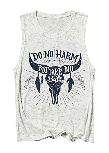 (GEMLON Do no Harm but Take no Bull Funny Tank Tops for Women Vintage Cow Graphic Tops Sleeveless Cowgirl Shirt Gray)