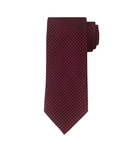 TOM FORD Mens Small Houndstooth Textured Silk Tie, Red