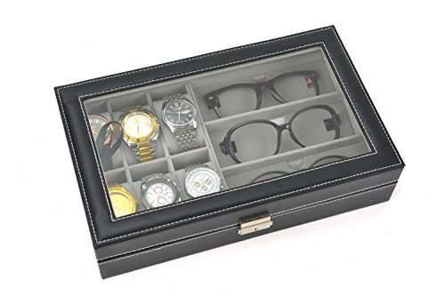 Autoark Leather 6 Watch Box Jewelry Case and 3 Piece Eyeglasses Storage and Sunglass Glasses Display Case Organizer,Black,AW-004 by Autoark (Image #4)