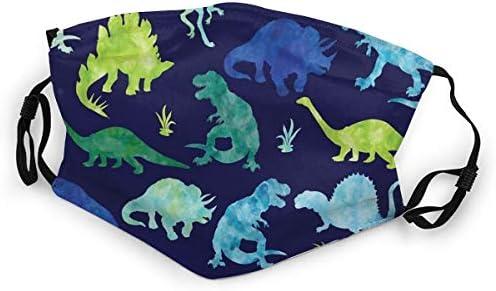667 Regenbogen Aquarell Dinosaurier Mundschutz Unisex Anti-Staub Baumwolle Gesichtsschutz f/ür M/änner und Frauen Jungen und M/ädchen