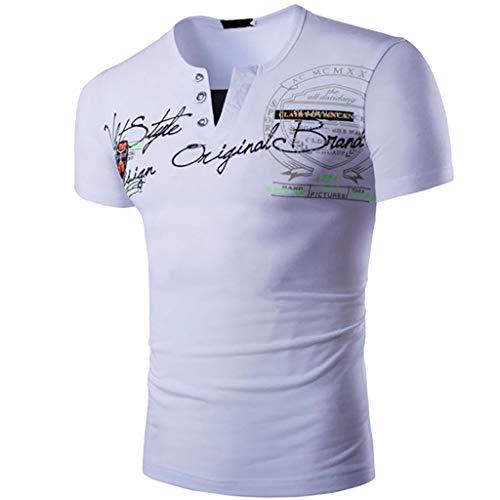 (YKARITIANNA Fashion Mens Letter Button Personality Shirt Short Sleeve T-Shirt Blouse Tops)