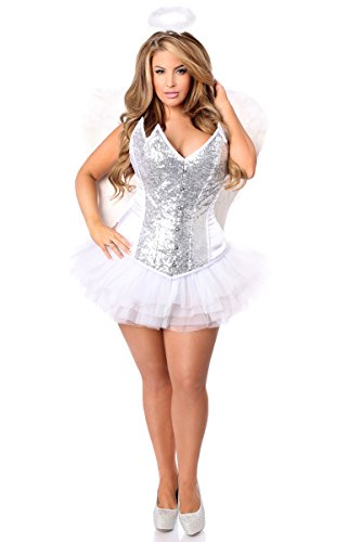 Daisy Corsets Women's Plus-Size Top Drawer Plus Size 4 Pc Heavenly Angel Corset Costume, Silver, 4X by Daisy corsets