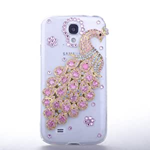 Sunboo Bling 3D Handmade Pink Rhinestone Peacock with Pink Diamond Patterns Design Case Cover for Samsung Galaxy S4 i9500 Hard Transparent