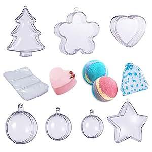 BENECREAT 7 Sets Bola de Navidad, Molde DIY Material Adornos de Bola Transparente para Decoraciones de Fiesta con Bolsas de Organza: Amazon.es: Hogar
