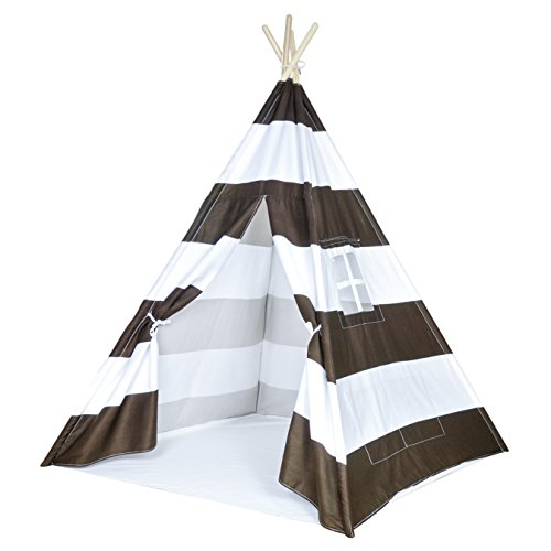 Striped Kids Teepee Tent - Portable Cotton Canvas Tent with Carrying Case, Large Stripes, Makes a Great Indoor Playhouse, Brown Stripes