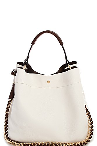 Handbag Republic Womens Fashion PU Designer Handbag Shoulder Bag Interlocking Chain Handle Stylish - Crow Collection Spring