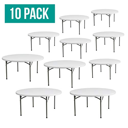 EventStable TitanPRO Plastic Folding Table - 60'' Round - 10 Pack ()