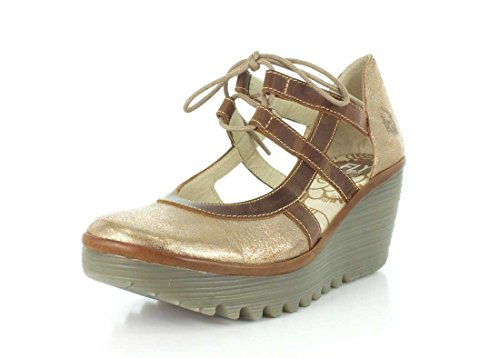 Fly London Mujeres Yett Cuña Pump Luna / Camel Cool / Rug