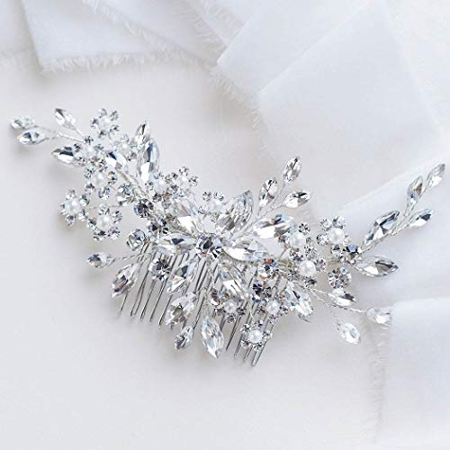 Catery Flower Crystal Bride Wedding Hair Comb Hair Accessories with Pearl Bridal Side Combs Headpiece for Women (Bridal Comb Veil)