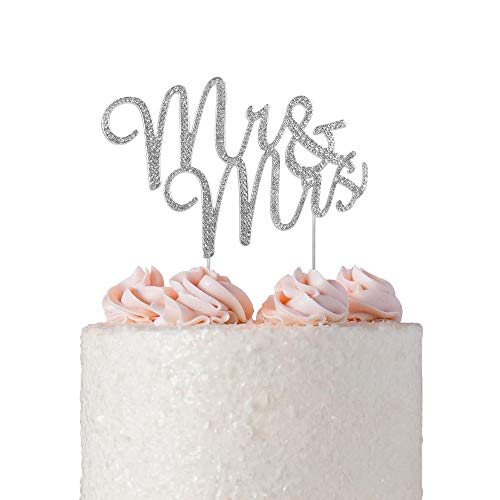 Mr and Mrs Rhinestone Cake Topper | Premium Sparkly Crystal Diamond Gem | Wedding Anniversary Bridal Shower Bachelorette Party Vow Renewal Decoration Ideas | Perfect Keepsake (Mr&Mrs Cursive Silver)