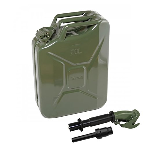 20 Liter (Olive Drab) Steel Wavian Jerry Can (4 Pack w/ 4 Spouts)