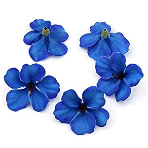 fake flowers heads in Bulk Wholesale Real Touch Silk Orchid Mini Artificial Flower Heads for Wedding Home Decoration Orchis Cymbidium Flowers Cheap 100pcs/lot 5cm (Blue) 14