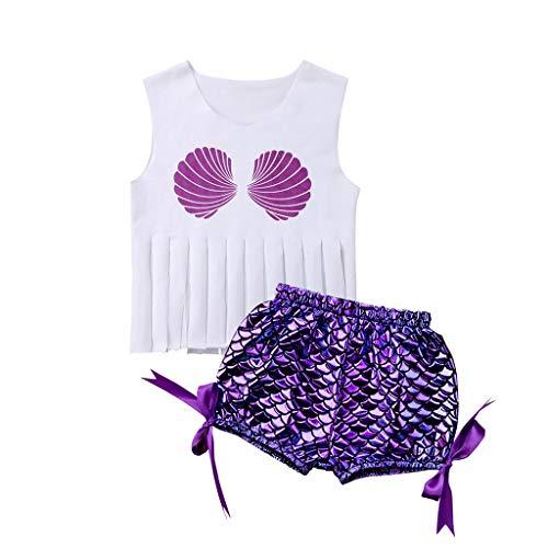 (Kimanli Children Baby Tassels Sleeveless Shell Print Beach Swimsuit+Shorts Swimwear Set)