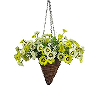 Mynse Silk Aster Flower Hanging Wicker Basket Cone Artificial Daisy Flower White and Green 76