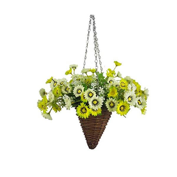 Mynse Silk Aster Flower Hanging Wicker Basket Cone Artificial Daisy Flower White and Green