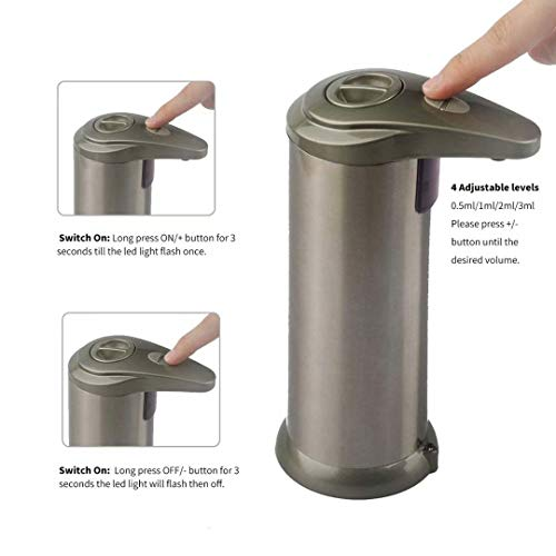 Large Product Image of NinKe Automatic Soap Dispenser with Waterproof Base; Premium Fingerprint Resistant Brushed Stainless Steel; Adjustable Volume and Touchless Infrared Sensor for Bathroom or Kitchen