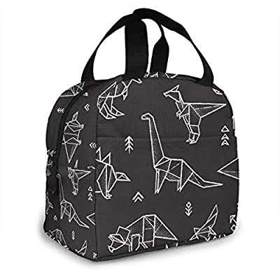 PrelerDIY Galaxy Origami Dinosaur Lunch Box Insulated Meal Bag Lunch Bag Reusable Snack Bag Food Container For Boys Girls Men Women School Work Travel Picnic: Kitchen & Dining