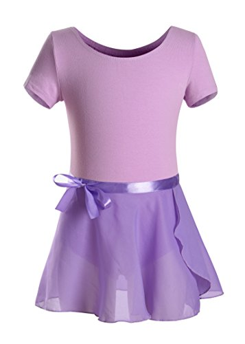 DANSHOW Girls Short Sleeve Leotard with Skirt Kids Dance Ballet Tutu Dresses (10-12, Purple)