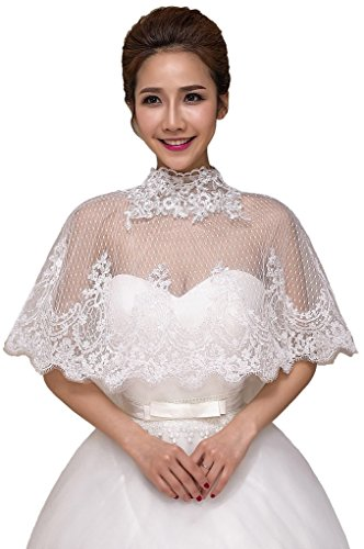 JoyVany Bridal Bolero Jacket Coat Lace Embroidered Shrug Shawl For Wedding Dress - Jacket Embroidered Bolero