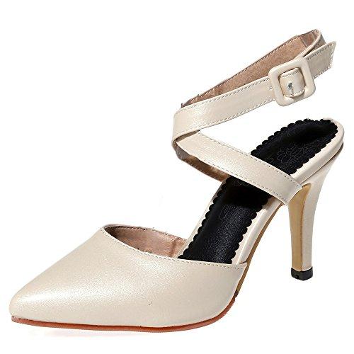 Fashion Heel - Zapatos con correa de tobillo mujer Beige