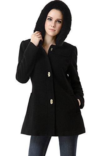 BGSD Women's 'Lana' Wool Blend Hooded Parka Coat - Black XL