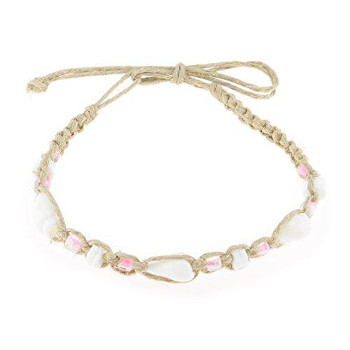 (BlueRica Hemp Anklet Bracelet with White Nassa, Puka Shells and Light Pink Beads)