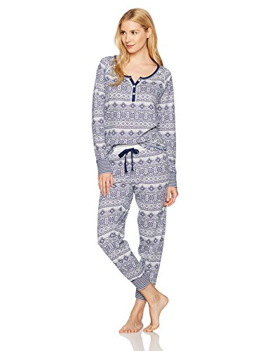Mae Women's Vintage Thermal Long Sleeve Henley Sleep Set