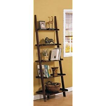 Poundex Leaning Bookcase Bookshelf Dark Espresso Brown