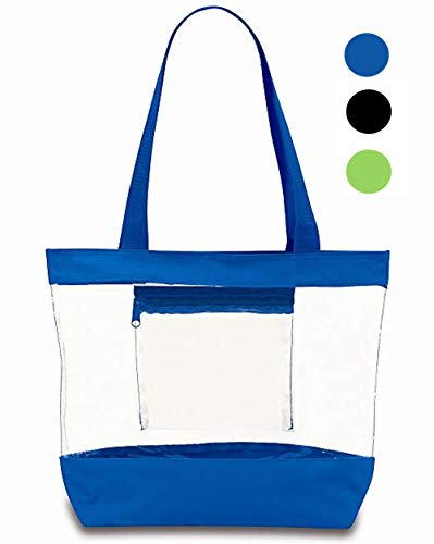 Clear Tote Bag With Zipper and Interior Pocket Clear Purse Medium Size (Blue) ()