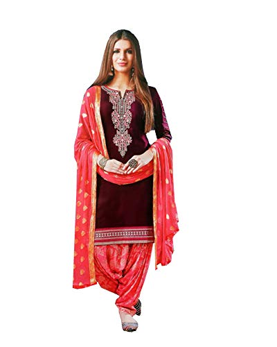 (Queen Fashion New Indian/Pakistan Wear Patiala Salwar Embroidered Cotton Salwar Kameez Suit for Woman (Red, M-40))