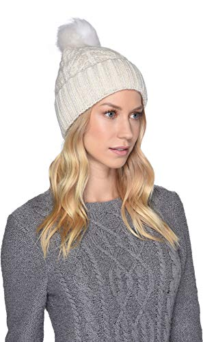 UGG Women's Cable Knit Pom Beanie Ivory Metallic Plaited One Size ()