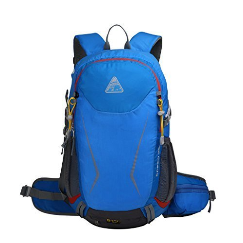 Kimlee Internal Frame Hiking Daypack Trekking Backpack Riding Backpack with Helmet Attachment Blue