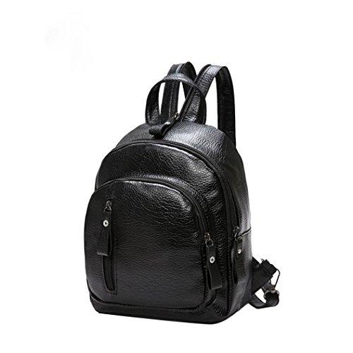 Zarupeng Frauen Multifunktions Schulter Buch Taschen Schule Tasche Mode Rucksack Schwarz