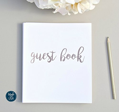 Modern Photo Guest Book, Softcover Flat-Lay Cardstock, Small 8.5''x7'', 65 White Sheets (130 pgs) Birthday Guest Book Wedding Guest Book Photo Guest Book Instax Guest Book Quinceanera Rose Gold White by Modern Notebooks