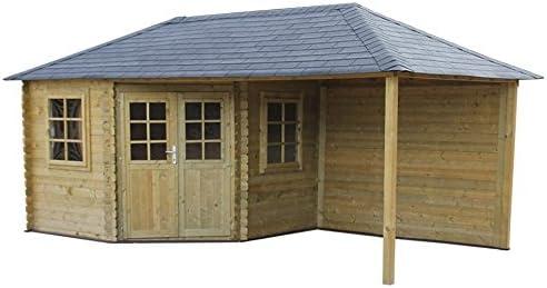 Fonteyn - Casa de jardín/cabaña de troncos con techo piramidal Eline de 600 x 300 cm, impregnado, alta presión: Amazon.es: Jardín