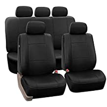 FH-PU002115 Classic PU Leather Car Seat Covers, Airbag compatible and Split Bench, Black color