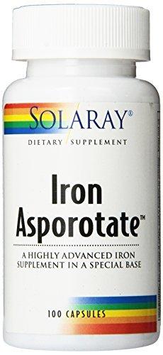 Solaray Iron Asporotate Capsules, 18mg, 100 Count by Solaray