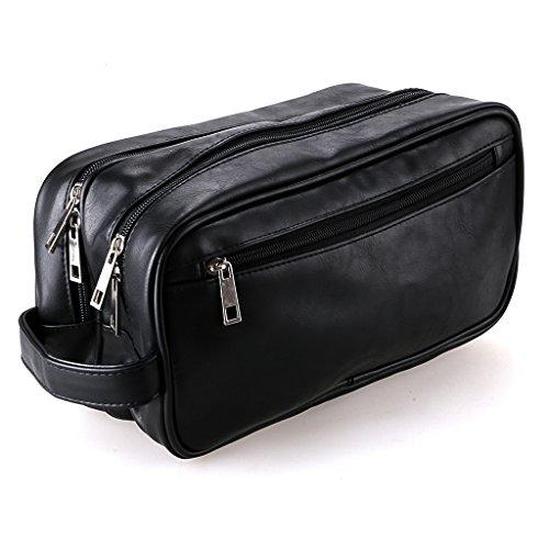 Hipiwe PU Leather Travel Toiletry Bag, Unisex Waterproof Hanging Travel Toiletry Dopp Kit Case Organzier Two layers