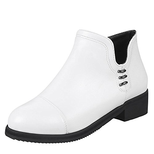 Charm Foot Womens Comfort Low Heel Zipper Autumn Winter Ankle Boots White AdKW96W