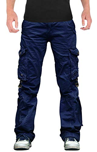 SkylineWears Mens Casual Cargo Pants Military Army Styles Cotton Trousers Navy