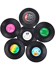 Vinyl Coasters for Drinks with Gift Box -6 Pack,Colorful Retro Vinyl Record Disk Coasters,Novelty Gifts for Music Lovers,Creative Decoration for Bar/Home/Office or 70s/80s Party Favors