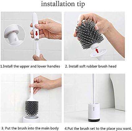 URMI Escobilla de inodoro y soporte para montaje en pared kit de cepillo de ba/ño con soporte de secado r/ápido con cepillo de cerdas de silicona limpio paquete de 1 unidad