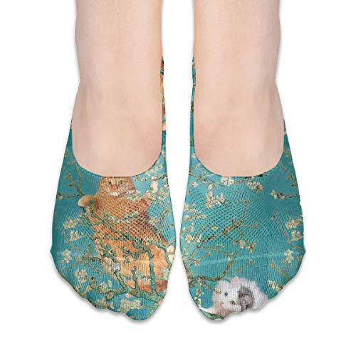 Van Gogh Almond Blossom Cat No Show Showless Invisible Fashion Flat Line Socks Coration Theme Ornament Clothing Dress Costume Dress