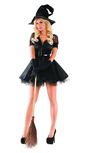 Party King Women's Bewitching Pin-Up Witch Sexy 3 Piece Costume Set, Black, (Pinup Halloween Costume)