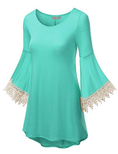 Forlisea Womens Lace Bell Sleeve Crochet Pullover Tunic Top Casual Blouse