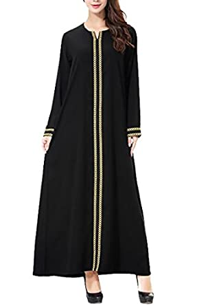 WSPLYSPJY Women's Long Sleeve Muslim Islamic Abayas Lace Maxi Dress