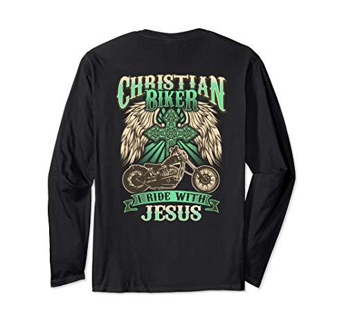 Christian Biker Ride With Jesus Back Print Long Sleeve Shirt