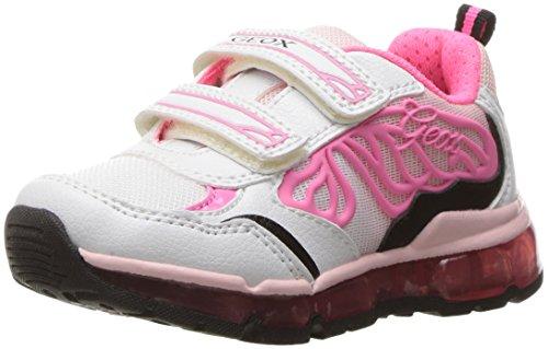 Geox Girls' JR Androidgirl 10 Sneaker, White/Fuchsia, 32 BR/1 M US Little Kid